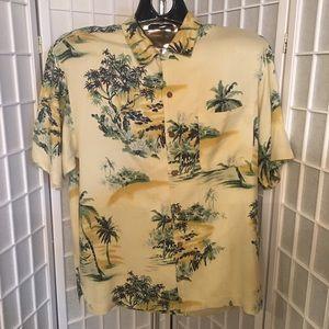 Tommy Bahama Mens Medium Hawaiian Shirt EUC Yellow